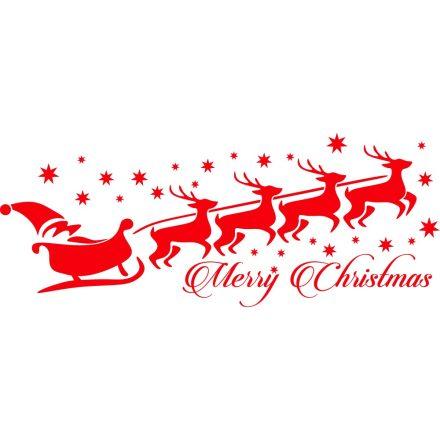 Télapó szánon szarvasokkal, karácsonyi matrica kirakatra