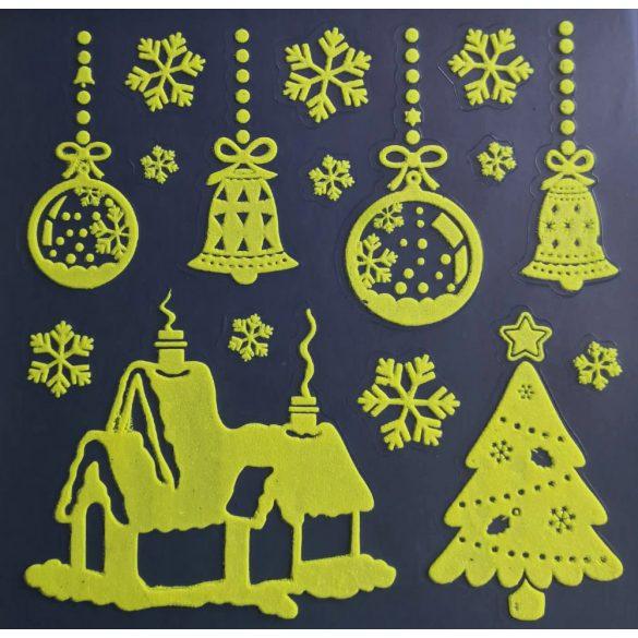 Karácsonyi házikó, éjjel világító karácsonyi ablakmatrica a Dekormatricák webáruházban