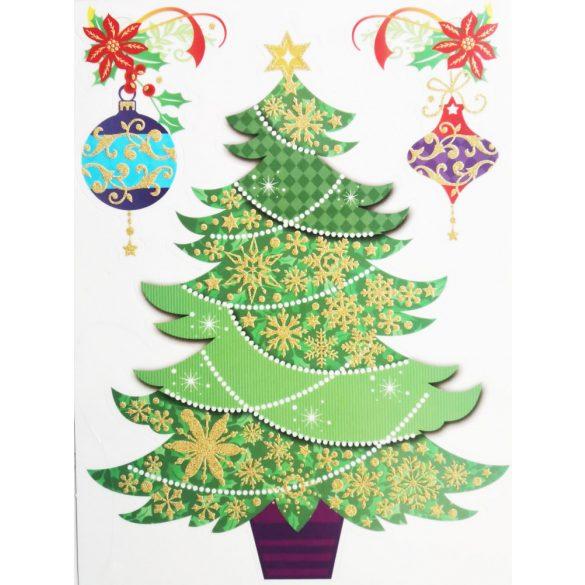 Karácsonyfa, csillámos ablakmatrica Karácsonyra - Dekormatricák webáruház