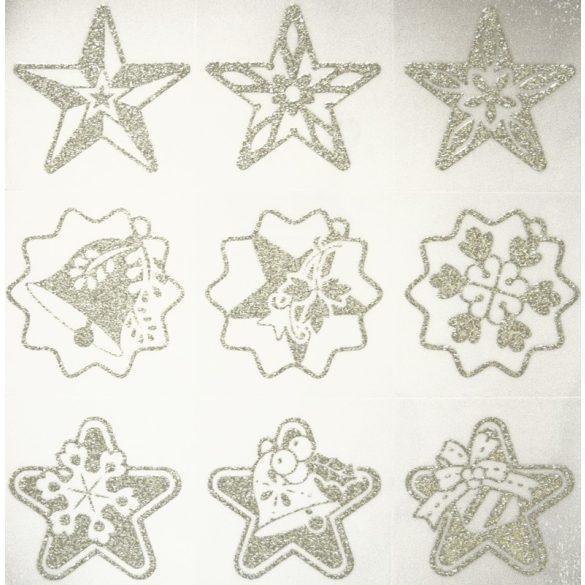Karácsony-5, ezüst csillámos karácsonyi ablakmatrica a Dekormatricák webáruházban