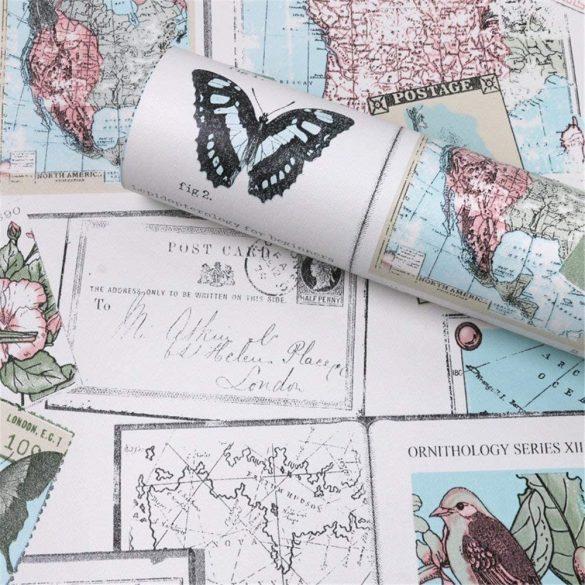 Színes állati térkép, öntapadós tapéta
