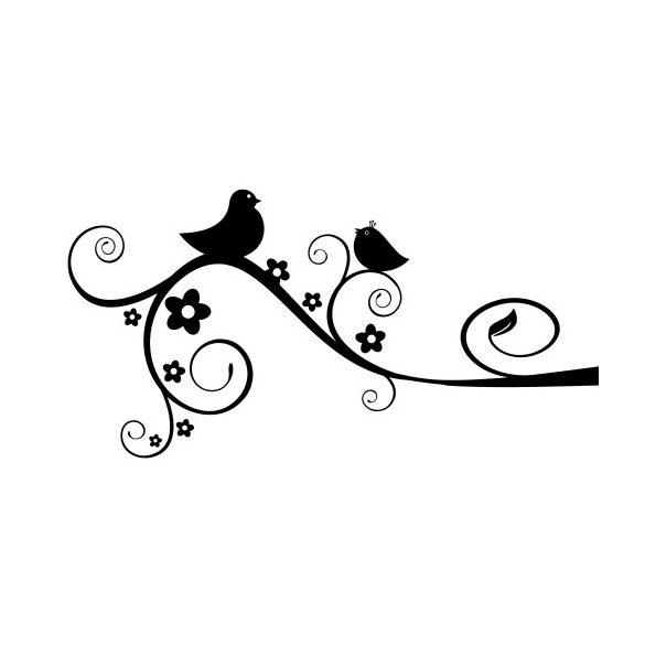 Madárkák a virágzó indán falmatrica a Dekormatricák falmatrica webáruházban