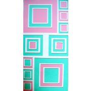 Négyzetek, csillámos, öntapadós polifoam dekoráció