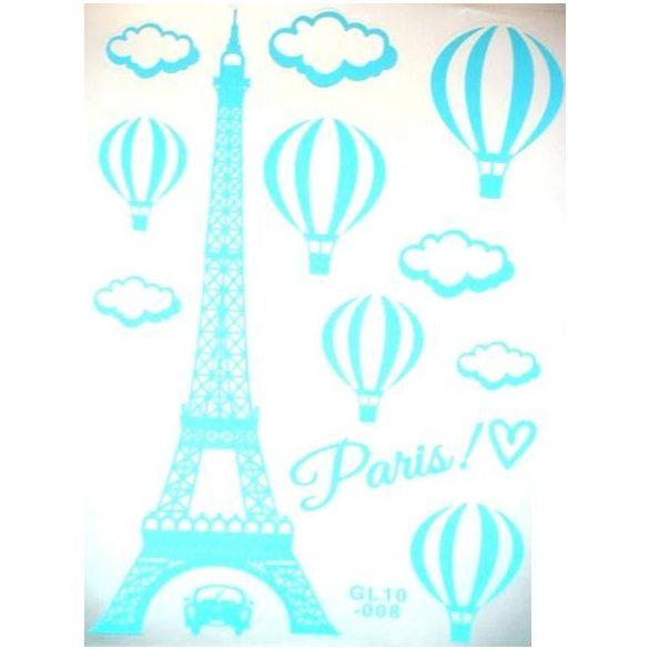 Párizs, éjjel világító falmatrica, világoskék