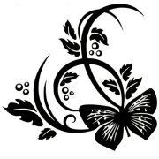 Nonfiguratív virág pillangóval, laptopmatrica