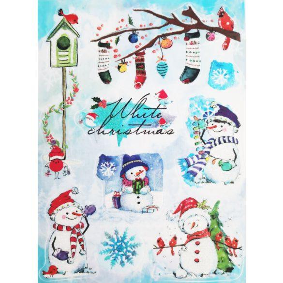White christmas, csillámos ablakmatrica Karácsonyra - Dekormatricák webáruház