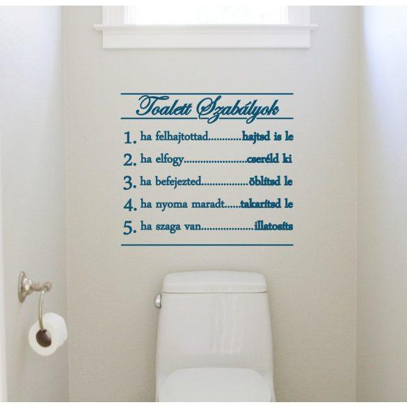 Toalett szabályok, falmatrica a Dekormatricák Webáruház kínálatában