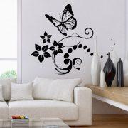 Nonfiguratív virág és pillangó
