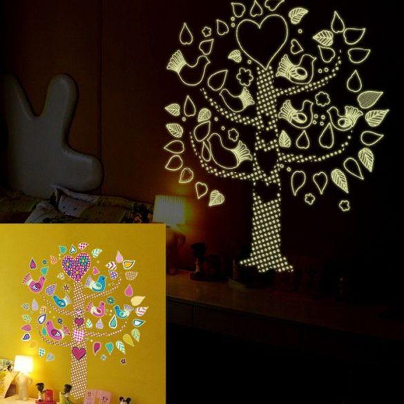 Fa madarakkal, éjjel világító falmatrica