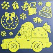 Mikulás teherautóval, éjjel világító karácsonyi ablakmatrica a Dekormatricák webáruházban