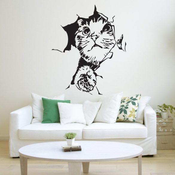 Faltörő cica, falmatrica a Dekormatricák falmatrica webáruházban