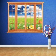 Virágos rét az ablakból, ablakos falmatrica a Dekormatricák Webáruházban