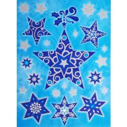 Csillagok 1, csillámos karácsonyi ablakmatrica a Dekormatricák webáruházban