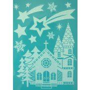 Karácsony éjjel, csillámos karácsonyi ablakmatrica a Dekormatricák webáruházban