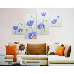 Kék virágocskák, 4 részes, 3D falmatricaszett
