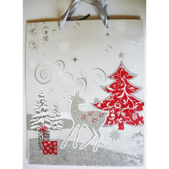 Őz ajándékokkal, karácsonyi ajándéktáska, L méret a Dekormatricák webáruháztól