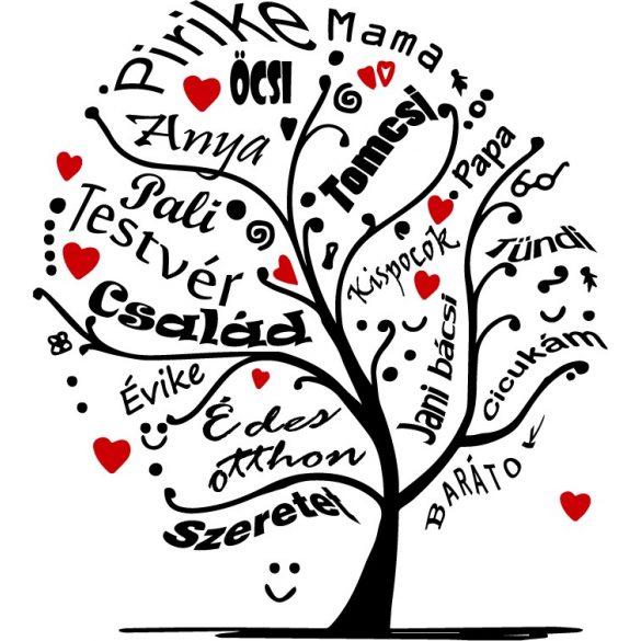 Családfa egyedi nevekkel a Dekormattricák egyedi falmatricái közül