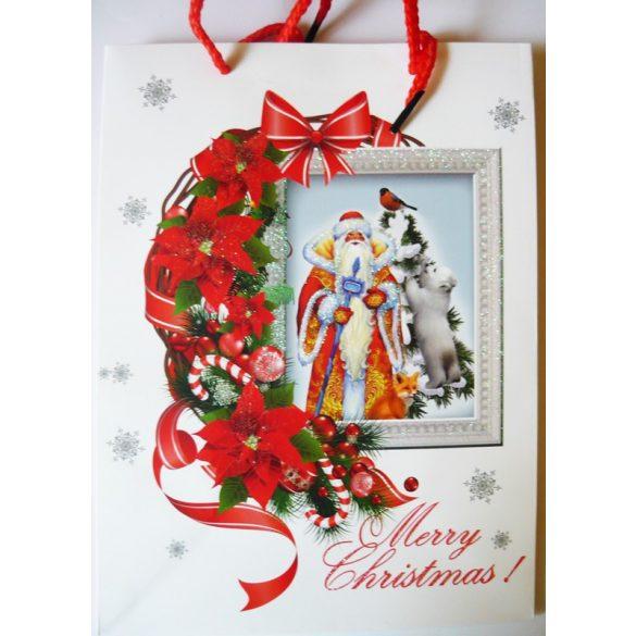 Mikulás jegesmedvével, karácsonyi ajándéktáska, M méret a Dekormatricák webáruháztól