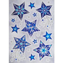 Csillagok, csillámos ablakmatrica karácsonyra a Dekormatricák webáruházban