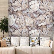 Barna kőfal mintás öntapadós tapéta