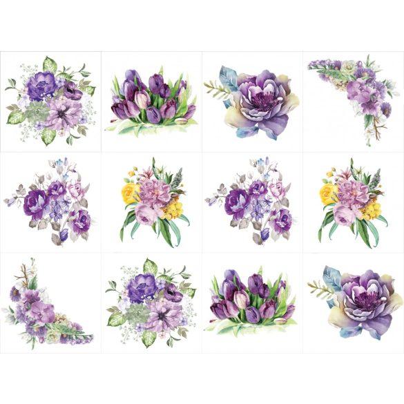 Vintage lila virágok, 12 db-os csempematrica csomag