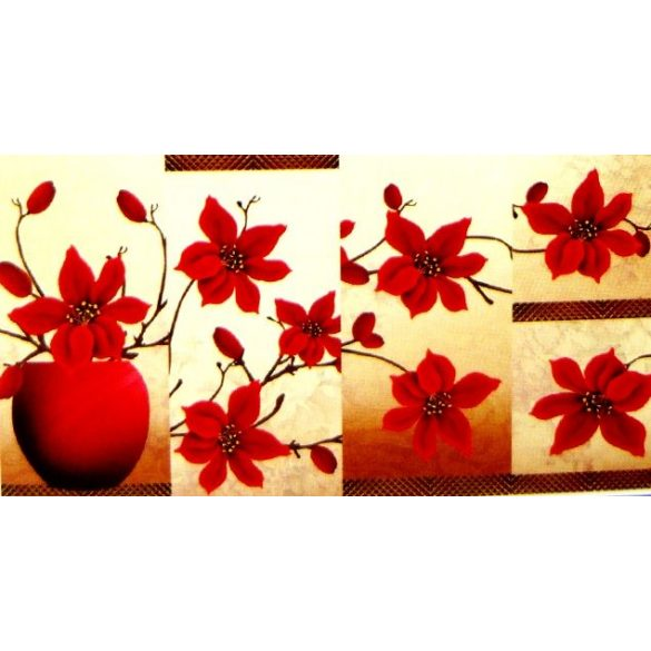 Tűzvörös virágok, 5 részes, 3D falmatricaszett