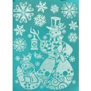 Hóember, csillámos karácsonyi ablakmatrica a Dekormatricák webáruházban