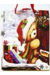 Maci, csillámos karácsonyi ajándéktáska. L méret