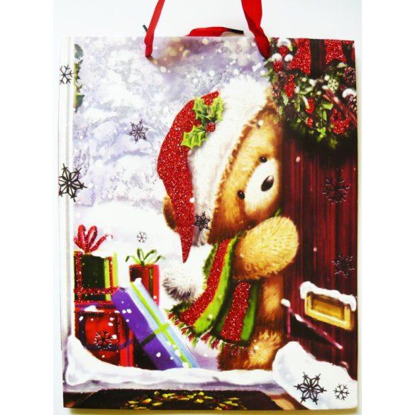 Maci csillámos karácsonyi ajándéktáska, L méret a Dekormatricák webáruháztól
