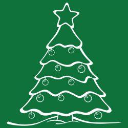 Fenyőfa, karácsonyi matrica kirakatra a Dekormatricák webáruháztól