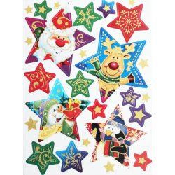 Karácsonyi csillagok, csillámos ablakmatrica Karácsonyra - Dekormatricák webáruház