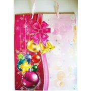 Rózsaszín, csillámos karácsonyi ajándéktáska, L méret a Dekormatricák webáruháztól