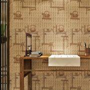 Bambuszfonat minta teáskannával, öntapadós tapéta