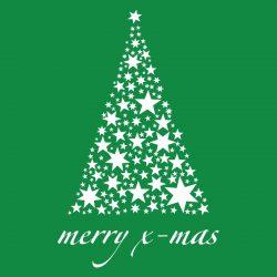 Karácsonyfa csillagokból, karácsonyi matrica kirakatra a Dekormatricák webáruháztól