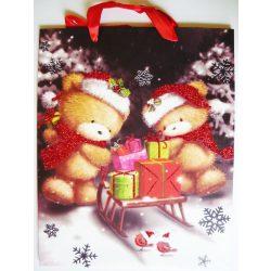 Mackók csillámos karácsonyi ajándéktáska, L méret a Dekormatricák webáruháztól