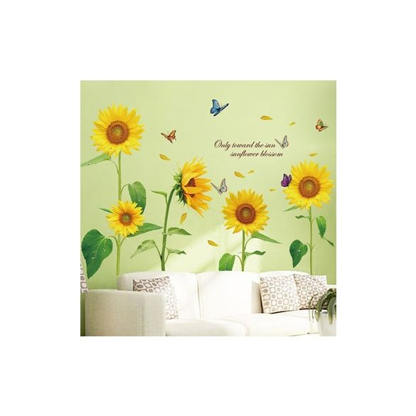 Napraforgók pillangókkal, falmatrica