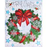 Karácsonyi koszorú, csillámos ablakmatrica karácsonyra a Dekormatricák webáruházban