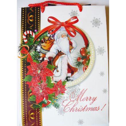Mikulás őzzel, karácsonyi ajándéktáska, M méret a Dekormatricák webáruháztól