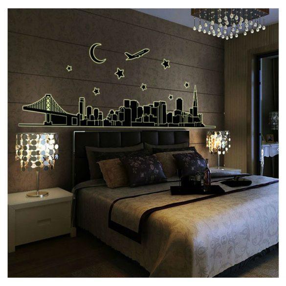 Város, éjjel világító falmatrica