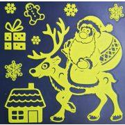 Mikulás rénszarvassal, éjjel világító karácsonyi ablakmatrica a Dekormatricák webáruházban
