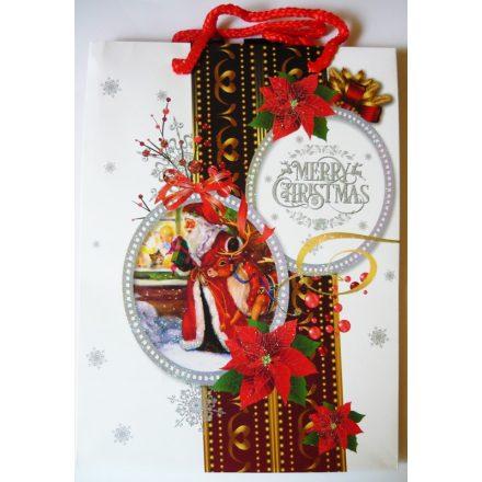 Mikulás szarvassal, karácsonyi ajándéktáska, M méret a Dekormatricák webáruháztól