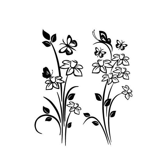 Nárciszok és pillangók, virágos falmatrica a Dekormatricák Falmatrica Webáruházból