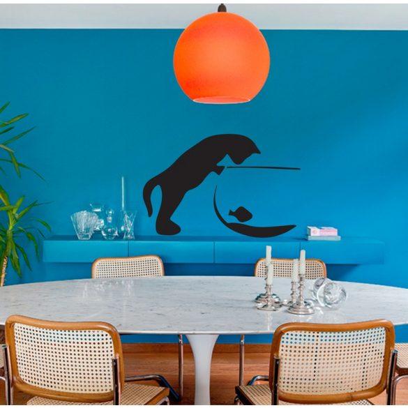Cica az akváriumnál, cicás falmatrica a Dekormatricák falmatrica webáruházban