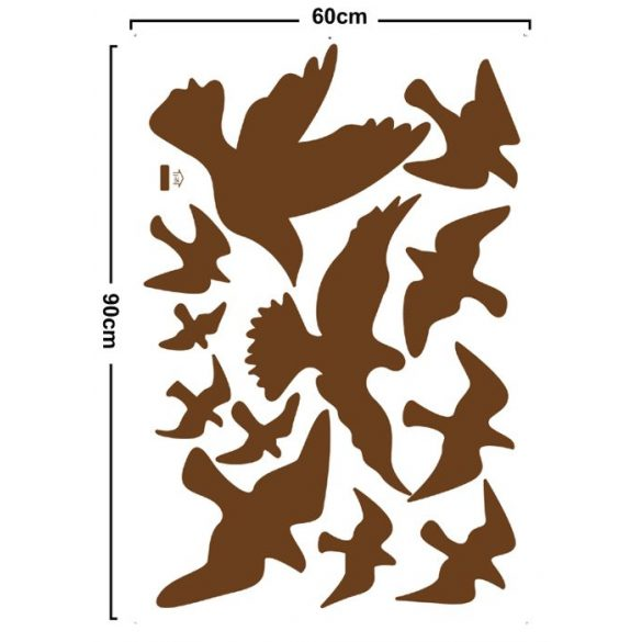 Madarak, falmatrica barna színben