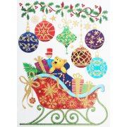 Szán ajándékokkal, csillámos ablakmatrica Karácsonyra - Dekormatricák webáruház