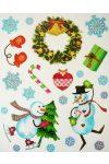 Mókás hóemberek, csillámos karácsonyi ablakmatrica