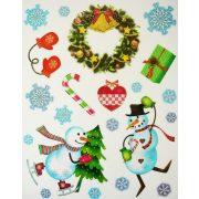 Mókás hóemberek, csillámos karácsonyi ablakmatrica a Dekormatricák webáruházban