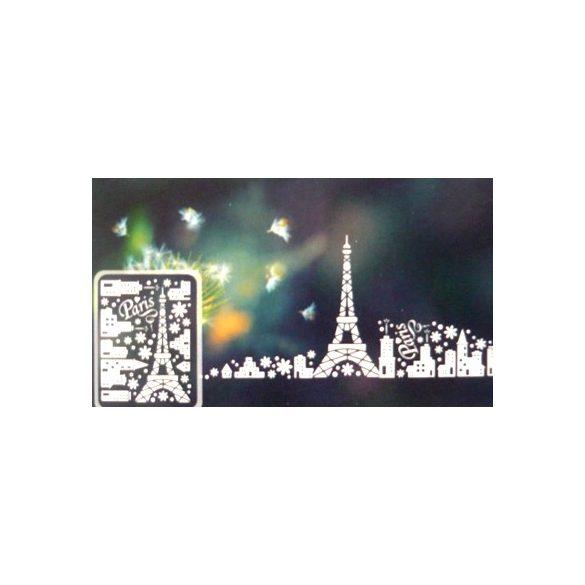 Párizs, éjjel világító, fehér, csillámos ablakmatrica