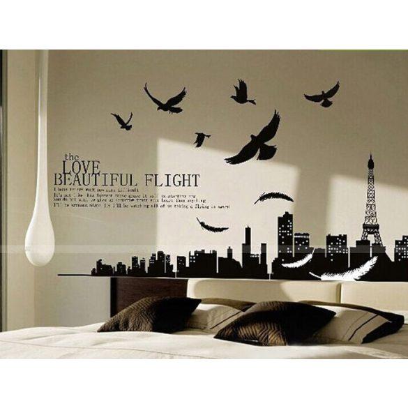Párizs madarakkal, fekete-fehér falmatrica