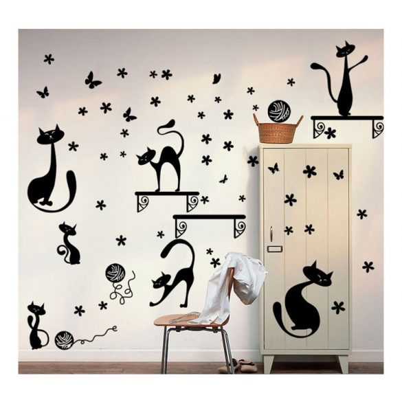 Cicák polcokkal, cicás falmatrica a Dekormatricák Webáruház cicás falmatricái közül